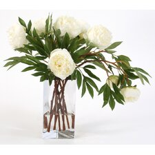 Silk Peonies in Triangle Vase