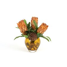 Faux Protea and Pods in Glass Vase