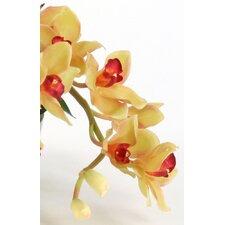 Silk Orchid Spray in Glass Disk Vase