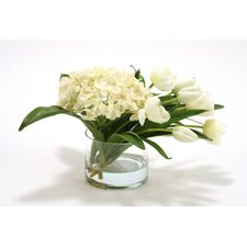 Waterlook Silk Hydrangeas with Stage Tulips in Cylinder Vase
