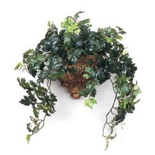 Silk Grape Ivy in Acanthus Leaf Wall Sconce (Set of 2)