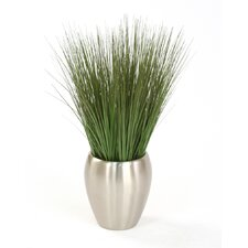 Silk Grass in Round Tapered Metal Decorative Vase