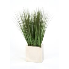 Silk Grass in Rectangular Metal Decorative Vase