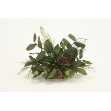 Topper Silk Arrangement on Tortoise Tray Floor Plant in Planter (Set of 2)