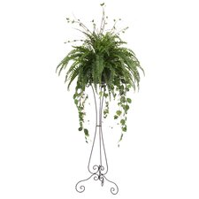 Silk Arrangement in Iron Victorian Plant Stand