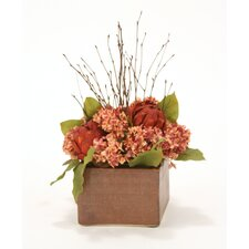 Fall Mix of Silk Hydrangeas, Twigs and Leaves
