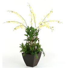 Silk Orchids and Greenery in Planter