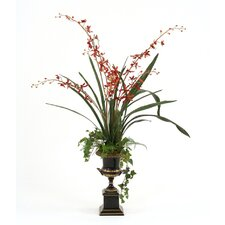 Silk Vanda Orchids in Trophy Urn