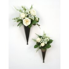 Silk Floral Nosegays in Metal Cones (Set of 2)