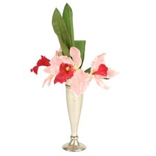 Silk Cattleya Orchids in Trumpet Vase