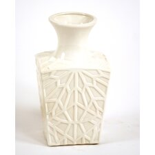Glazed Embossed Square Kira Vase