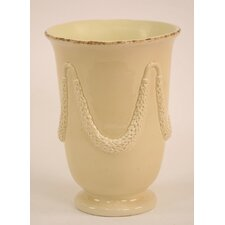 Glazed Vase with Draping Rope Garland Relief