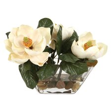 Silk Magnolias in Glass Vase