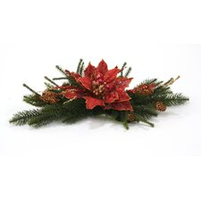Silk Poinsettia Accent Topper (Set of 2)