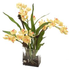 <strong>Distinctive Designs</strong> Silk Orchid Plant in Rectangular Vase