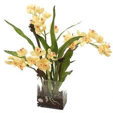 Silk Orchid Plant in Rectangular Vase