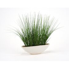 Silk Grass in Oval Artificial Pot