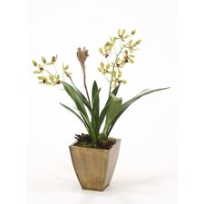 <strong>Distinctive Designs</strong> Silk Vanda Orchid with Foliage and Succulents in Planter