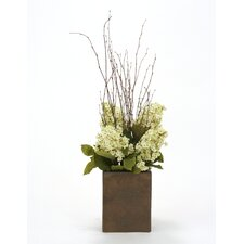 Silk Peegee Hydrangeas and Bay Leaves in Vase