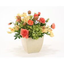 Hydrangea and Poppy Floral in Crackle Planter