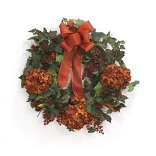 Fall Wreath with Hydrangeas and Berries