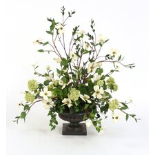 Silk Dogwood Branches with Snowballs in an Artichoke Urn