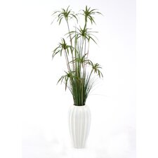 <strong>Distinctive Designs</strong> Silk Umbrella Papyrus Grass in Round Tapered Ceramic Vase