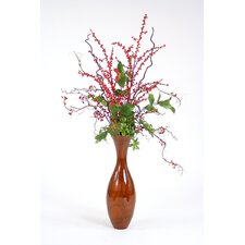 <strong>Distinctive Designs</strong> Faux Berries, Branches and Foliage in Stained Flared Wood Vase