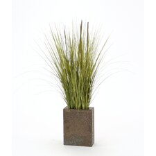 Silk Grass in Rectangular Decorative Vase