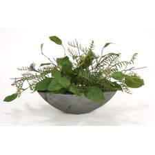 Silk Bay Leaves and Fern in Metallic Oval Planter