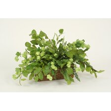 <strong>Distinctive Designs</strong> Silk Hops, Marsh Fern and Lemon Leaf Floor Plant in Basket