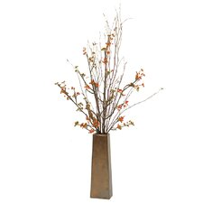 Silk Bittersweet Branches in Tall Tapering Square Vase