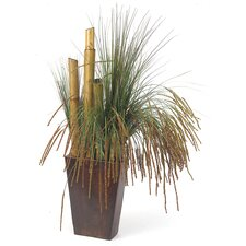 Silk Seeded Grass with Bamboo in Rectangular Planter