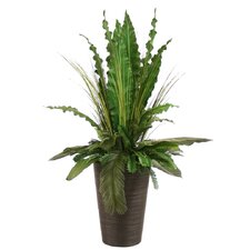 <strong>Distinctive Designs</strong> Silk Tropical Leaves with Grass and Palms Floor Plant in Planter