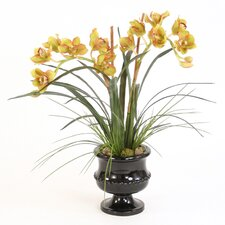 <strong>Distinctive Designs</strong> Silk Orchids, Arrorog and Grass in Classic Urn