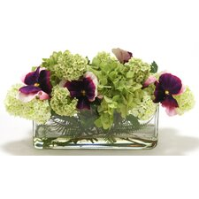 Waterlook Silk Pansies, Hydrangeas, Snowballs and Ferns in Vase