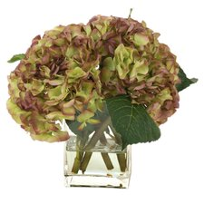 Silk Hydrangea Nosegay in Rectangular Vase