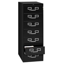 "7-Drawer Card Cabinet, w/Lock, 19""x28""x52"", Black/Sand"