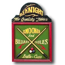 Game Room Hand-Carved Billiards Sign Wall Décor