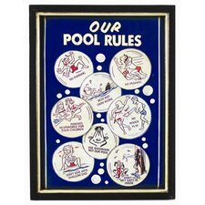 Our Pool Rules Framed Vintage Advertisement