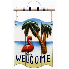 <strong>RAM Gameroom Products</strong> Flamingo Welcome Outdoor Sign