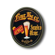 Hand-Carved 'Fine Beer' Sign