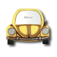 Hand-Carved Yellow Car Mirror