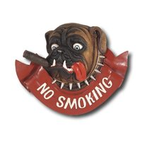 Hand-Carved 'No Smoking' Dog Sign