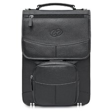 Premium Leather Laptop Flight Case with Large Pouch