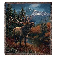 Bull Elk Tapestry Cotton Throw