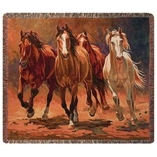 Hoofbeats and Heartbeats Tapestry Cotton Throw