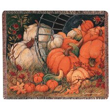 <strong>Manual Woodworkers & Weavers</strong> Pumpkin Garden Tapestry Cotton Throw