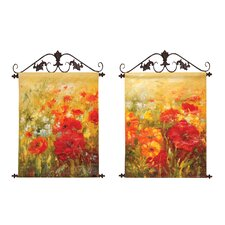 Field of Floral Original Painting on Canvas (Set of 2)