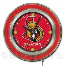 "NHL 15"" Double Neon Ring Logo Wall Clock"